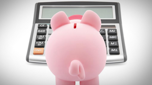 Picture of piggy bank looking at calculator to show 10 ways to implenent a HSA in the HR trends blog