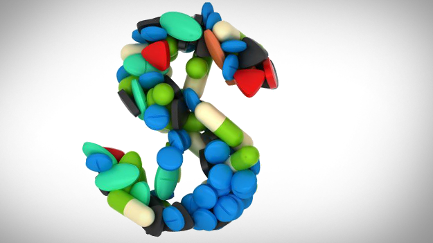 Picture of drugs made into dollar sign to illustrate the rising prescription drug costs in a HR trends blog