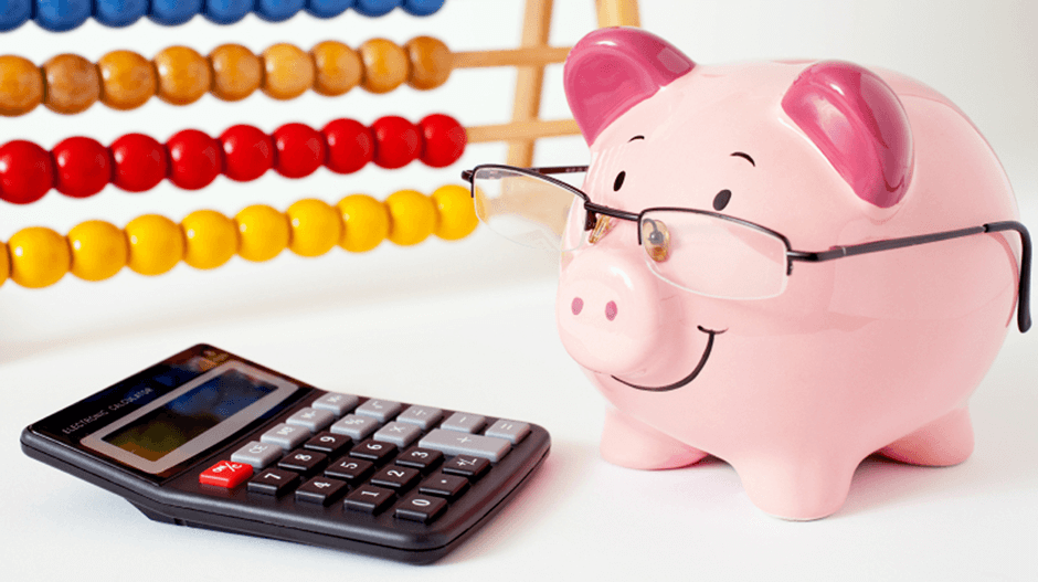 Piggy bank with glasses and calculator to show the importance of employee benefits administration in employee benefit resources