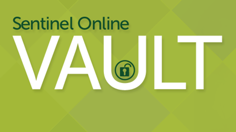 Sentinel online vault displayed on green background to show commitments of a fiduciary services provider in employee benefit resources