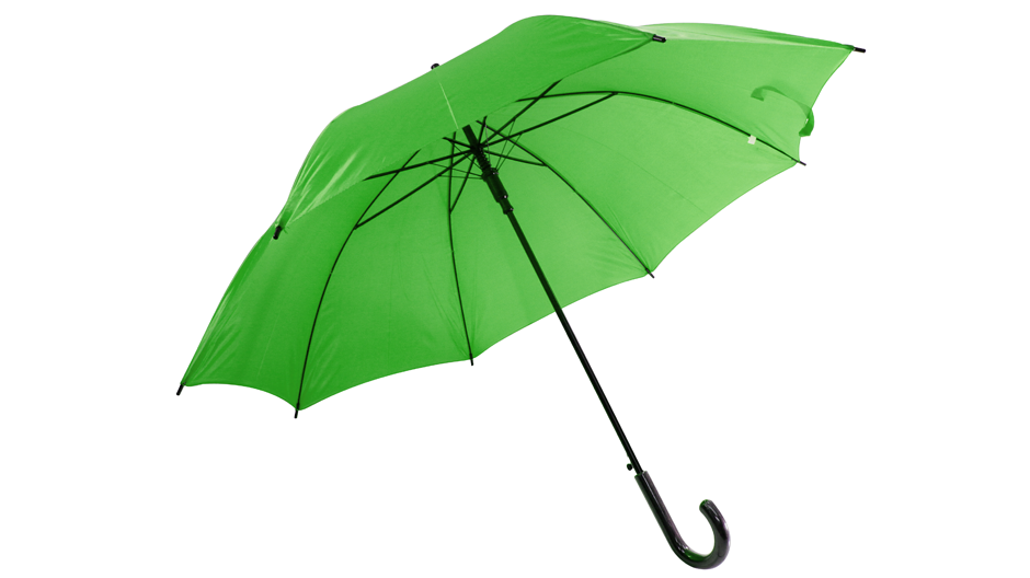 Green umbrella opened to symbolize the importance of a life insurance provider in employee benefit resources