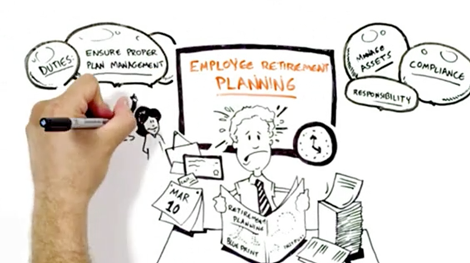Witty cartoon showing nervous employee reading paper about retirement plan services and employee benefit resources