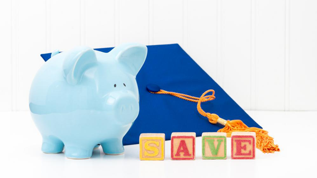 Blue piggy bank with graduation cap to illustrate why college saving plans are necessary for your financial resources