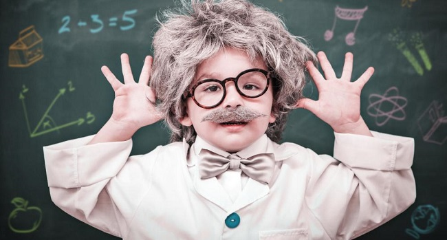 Toddler dressed like Einstein displaying need for retirement savings and college savings to protect financial resources