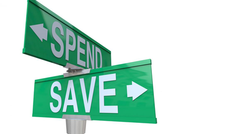 Spend or save street sign to symbolize 401k retirement calculator
