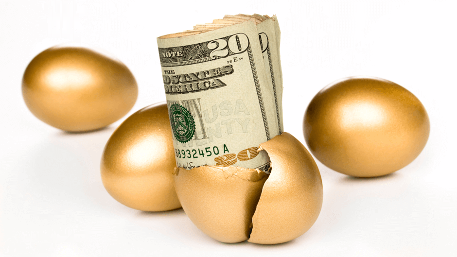 Gold eggs with money to symbolize 403b retirement calculator