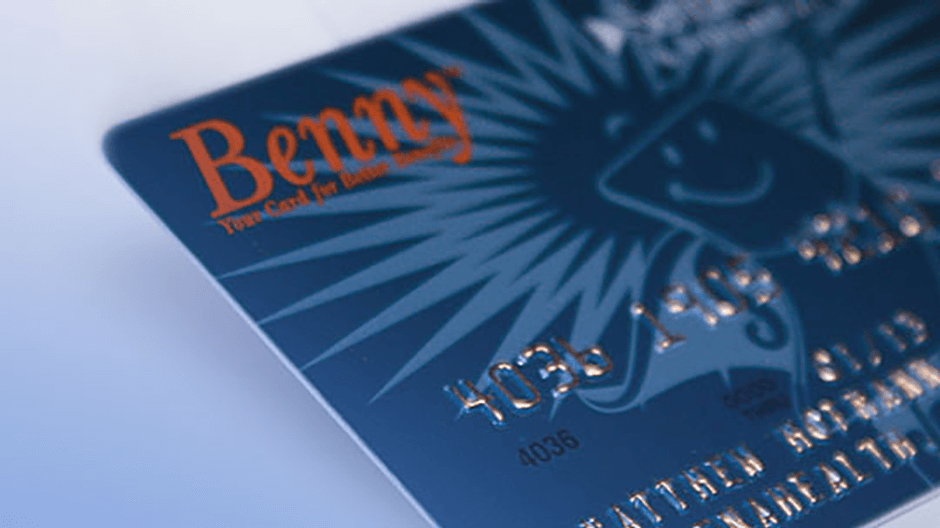 Photo of our FSA administration debit card called the Benny debit card