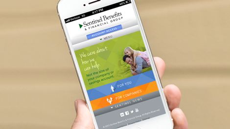 Hand holding phone displaying the Sentinel financial services mobile app, a tool for your financial resources